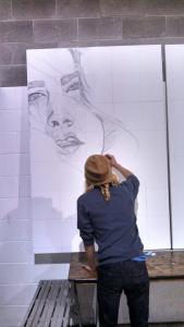 Mello Saldivar Anaya Working on Mural
