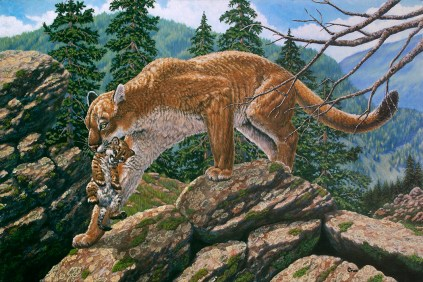 Moving Day, Painting of a cougar carrying her cub in her mouth by artist Linda Cruz