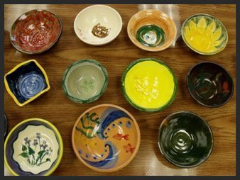 Empty Bowls Pizza Party at Ashland Art Center on April 8, 2015! Make you bowl to donate to this year's Empty Bowls event in Ashland!