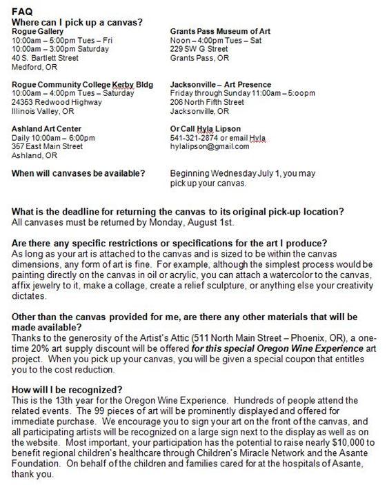 Calls to Artists - Artoberfest and Oregon Wine Experience