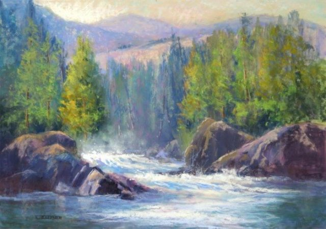 "Pastel Landscape Painting Class with Janis Ellison : ""On the River"" pastel painting by Janis Ellison. Join me for an exciting 4 week session chock full of painting tips and techniques to improve your paintings or help you get started in Pastel, starting January 4, 2016"