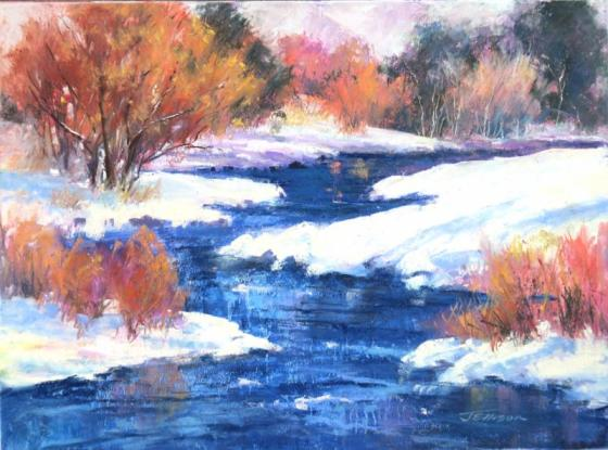 Janis Ellison February 2016 Class: Pastel Painting in a Series. Image shown: Winter Blush, pastel painting