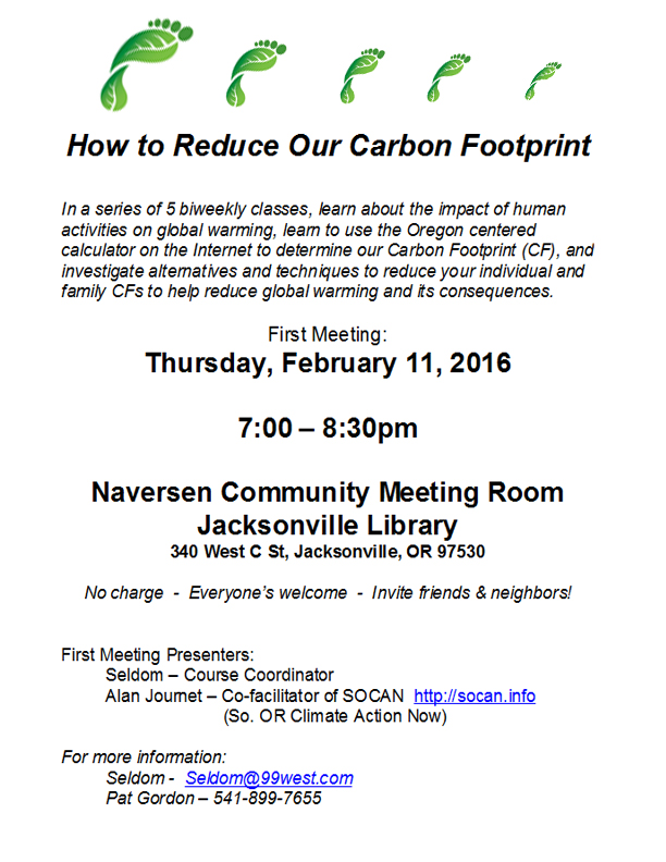 Free Carbon Footprint Reduction Class on how individuals and families can reduce their carbon footprint, facilitated by artist Catie Faryl, at the Naversen Room in the Jacksonville Oregon Public Library
