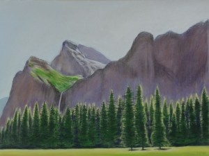 Yosemite, pastel painting by Leif Trygg