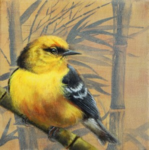 """""""Blue Winged Warbler and Bamboo,"""" oil on panel, by Jhenna Quinn Lewis"""