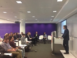 Gregor Semieniuk leading a discussion on who is financing renewable energy at the conference hosted by BloombergNEF.