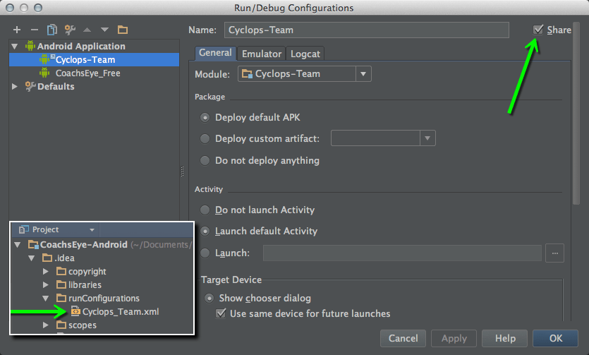 DevCorner: Sharing Run Configurations in Android Studio