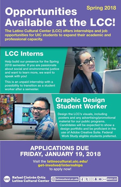 Spring 2018 Internship and Job Opportunities Available at the Latino
