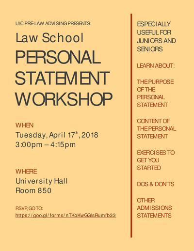 Law School Personal Statement Workshop \u2013 April 17 UIC