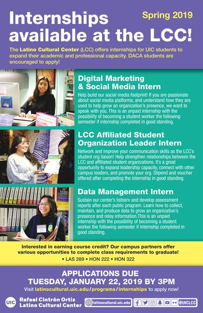 Spring 2019 Internship Opportunities at LCC \u2013 Applications Deadline