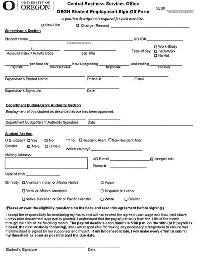 Student Employment Sign-Off Forms and Information College of