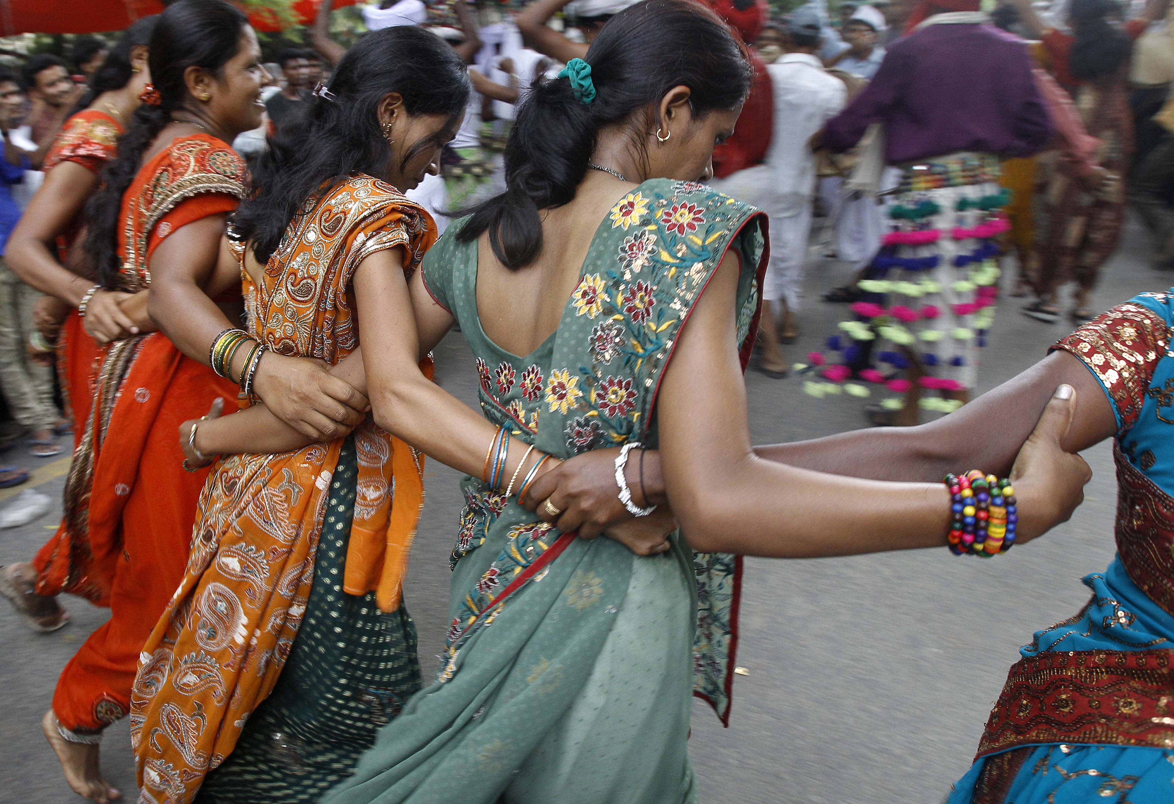 People India Tribal Dancers From The Western Indian State Of Gujarat