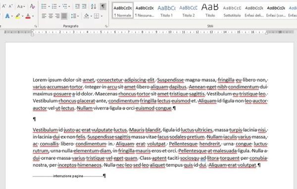 Interruzione di pagina in Microsoft Word