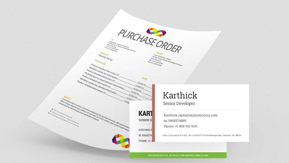 Easily generate brochures, payslips, contracts and more with Zoho - purchase order contract template