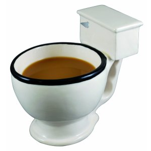 photo of a toilet bowl with coffee