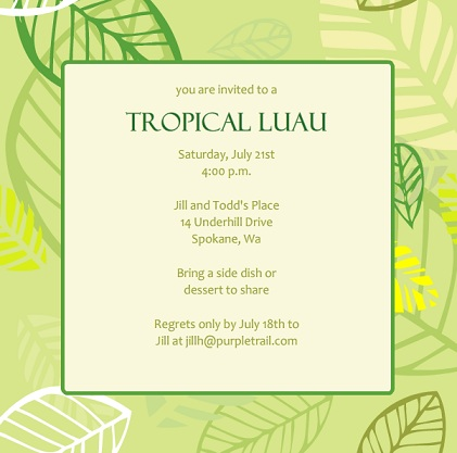 Luau Party Invitations From PurpleTrail