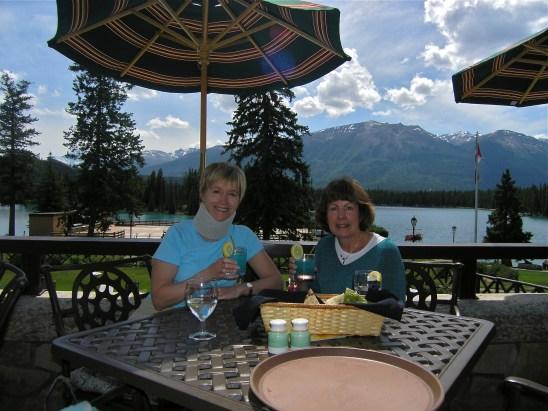 Two women at a picnic table at Jasper Lake