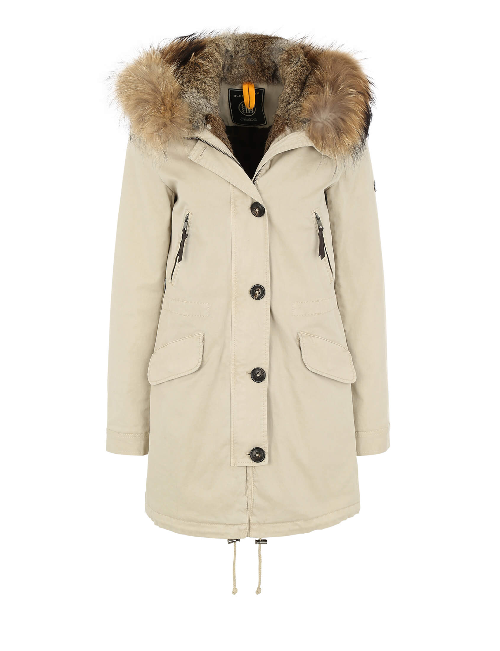 Beige Parka Damen Blonde No 8 Damen Echtfell Parka Aspen 515 Feather Beige