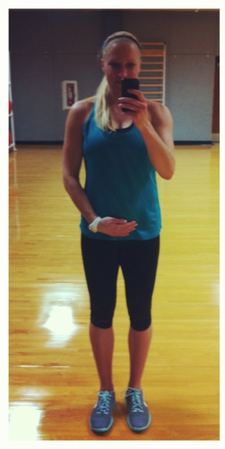 pregnant group fitness instructor