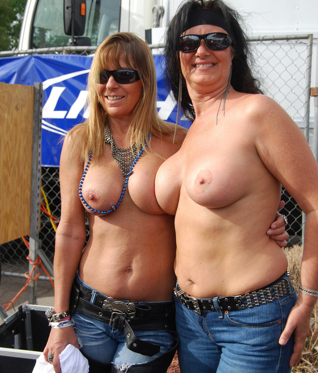 girls bike week showing tits
