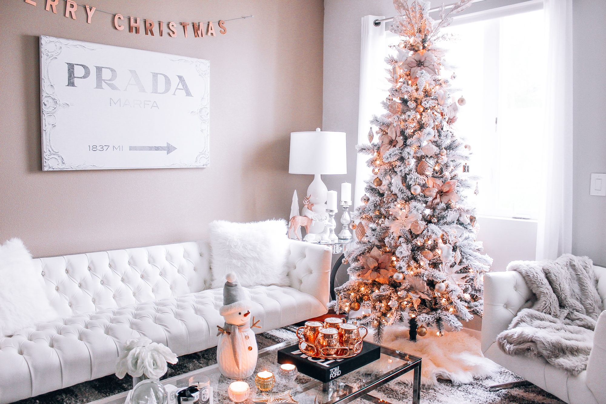 Rose Gold Decor Blush Pink Rose Gold And White Christmas Decor