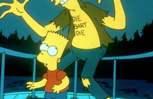 THE SIMPSONS GUEST- KELSEY GRAMMAR IS THE VOICE OF SIDESHOW BOB, SEEN HERE ABOUT TO DAMAGE BART SIMPSON. (C) 20TH CENTURY FOX FOR SKY ONE PUBLICITY ONLY