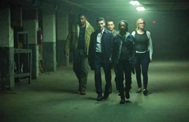 "(left to right)  MYKELTI WILLIAMSON as Joe Dixon, FRANK GRILLO as Leo Barnes, JOSEPH JULIAN SORIA as Marcos, BETTY GABRIEL as Laney and ELIZABETH MITCHELL as Senator Roan in Universal Pictures' ""The Purge: Election Year"" reveals the next terrifying chapter that occurs over 12 hours of annual lawlessness sanctioned by the New Founders of America to keep this country great."