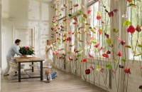Original window decoration: Anthurium flower curtains ...