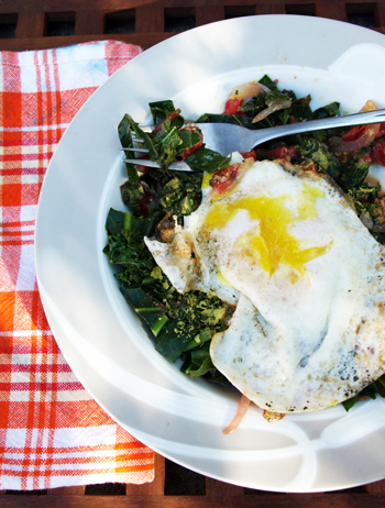 Power Breakfast: Swiss Chard, Fresh Tomato and Egg