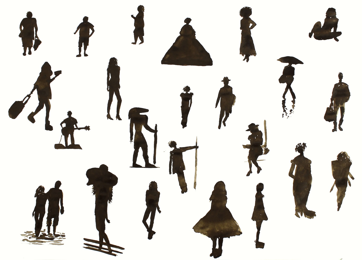 Silhouette Paintings Of People Blooming Watercolours
