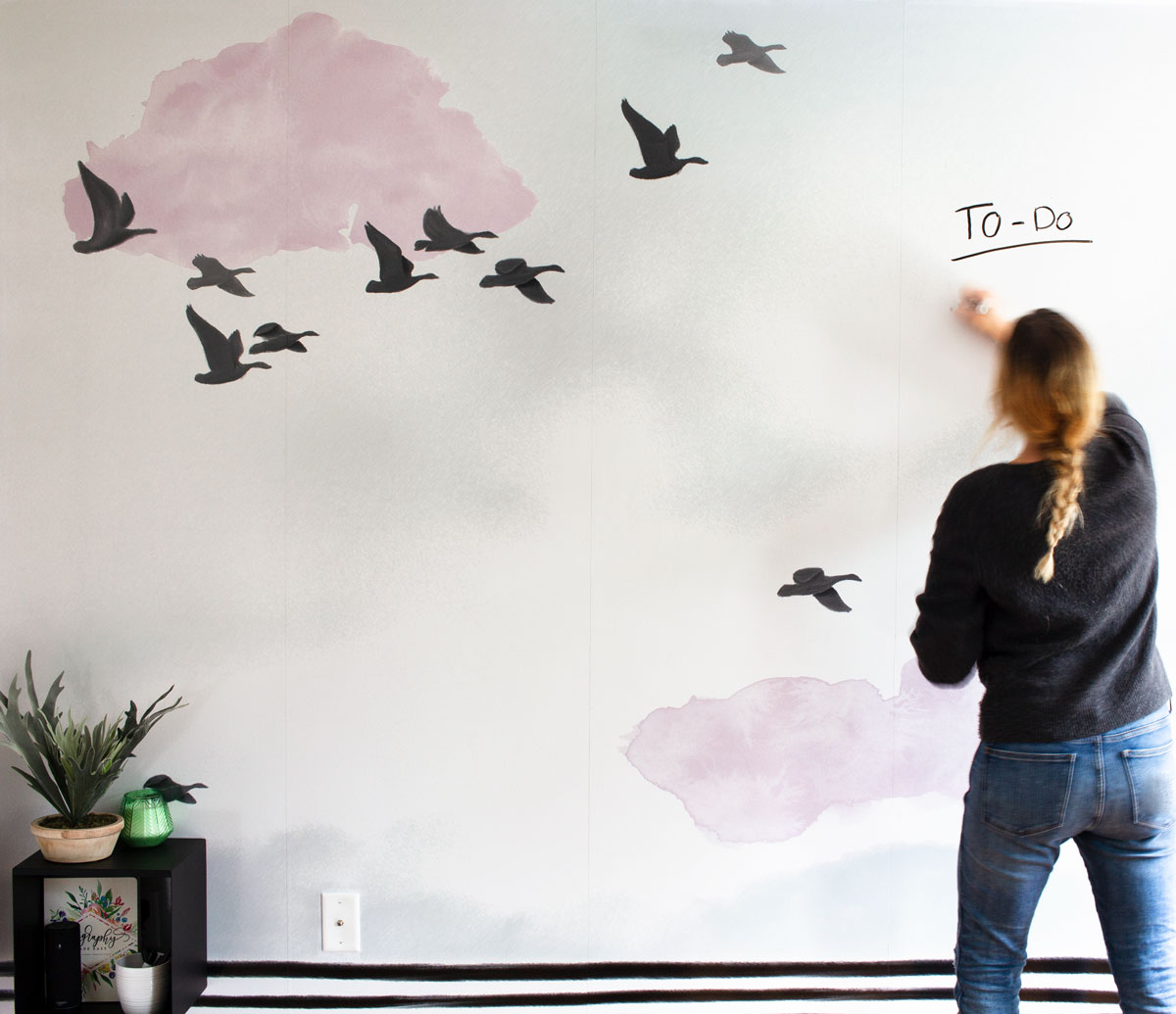 Turn A Wall Into A Whiteboard The Diy Whiteboard That S Also A Wall Mural Bloom In The Black