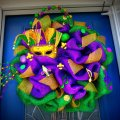 huge mesh Mardi Gras wreath