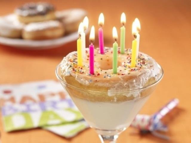 Birthday Martini with a doughnut to hold the candles!