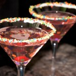 Love the sprinkles and icing on this birthday martini