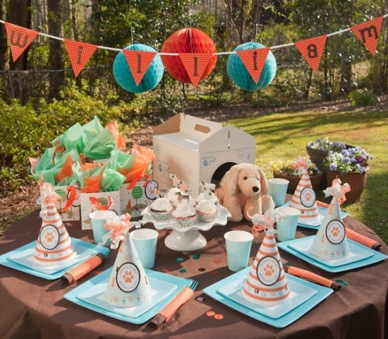 Cute and lovely dog birthday party table