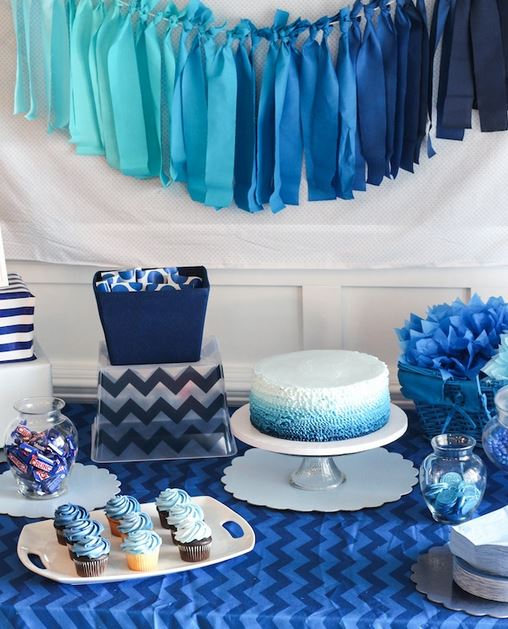Ombre Blue Party Table