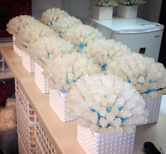 Super cute rock candy centerpieces