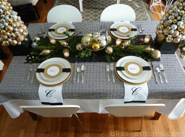 Festive Gold And Black Christmas Tablescape B Lovely Events