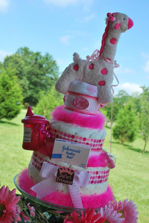 baby girl safari themed diaper cake!