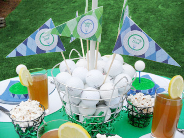 Tee riffic golf ball ideas b lovely events for Golf centerpiece ideas