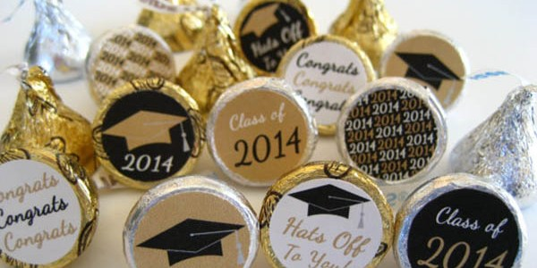 Black and gold graduation party chocolates