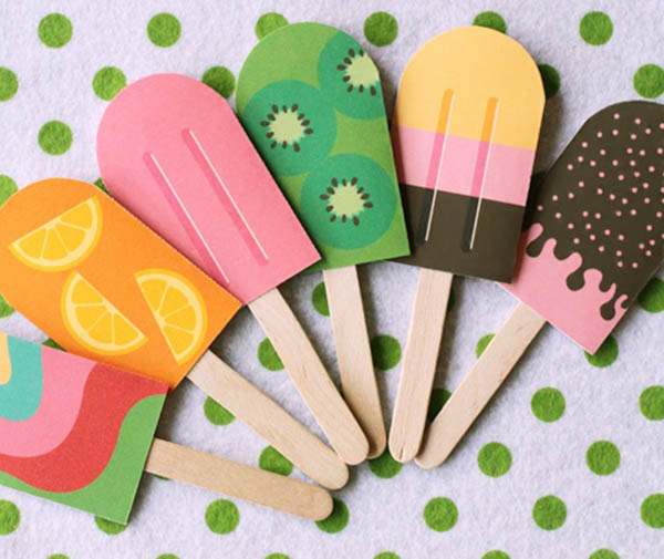 Cute Paper Popsicles for a Summer Party