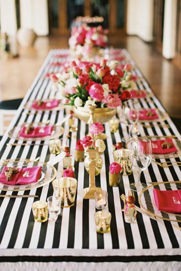 Kate Spade Bridal Shower Ideas Galore! - B Lovely Events - pink black and white weddings