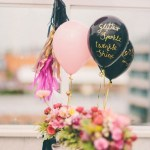 Gold Written Balloons- lovely centerpeice!
