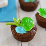 Browine Frog Pond Cookie cups for Earth Day-See More Earth Day Desserts Ideas At B. Lovely Events