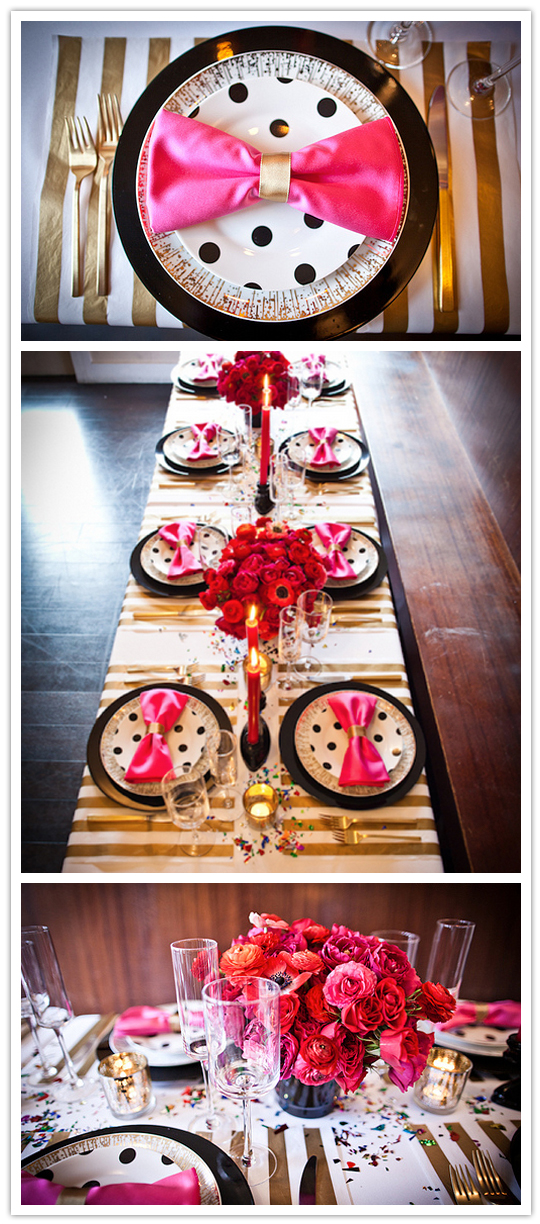 Fun and flirty tablescape with black, pink and gold