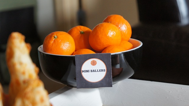 Mini ballers for March Madness basketball party- B. Lovely Events