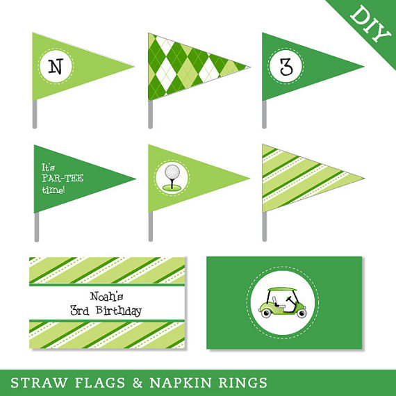 Golf party flags and banners printable set