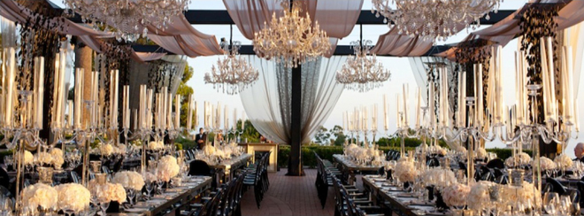 gorgeous white and black wedding outdoor draped reception