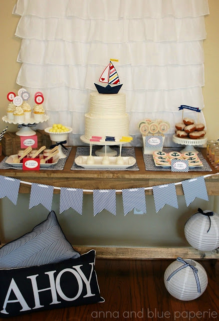 anna and blue paperie let's set sail dessert table